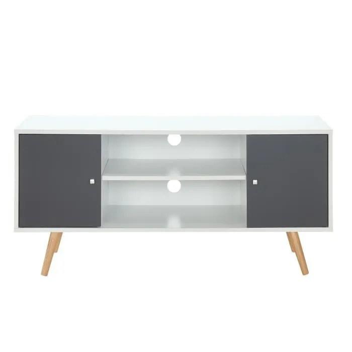 meuble tv scandinave pieds en bois gris fonce et b