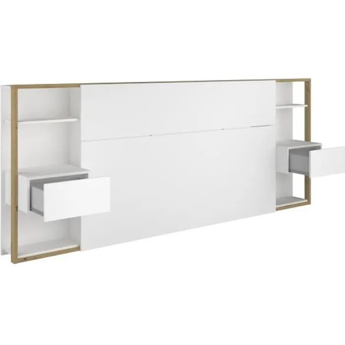 tete de lit avec etageres chevets decor chene artisan et blanc l 255 x p 36 x h 103 cm white