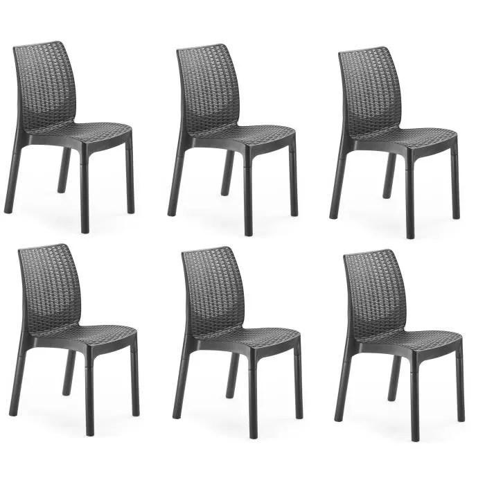 keter lot de 6 chaises aspect resine