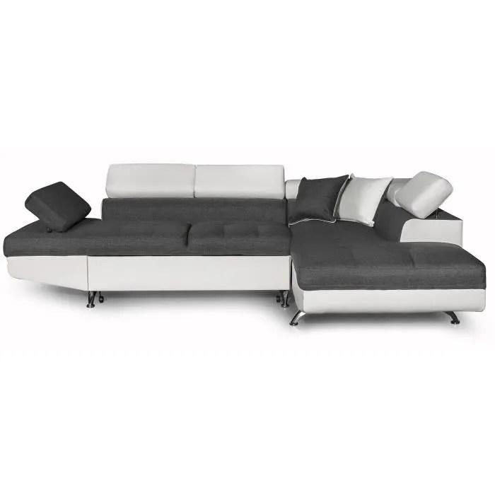 futura canape d angle droit convertible 4 places coffre de rangement tissu gris fonce et simili blanc l 272 x p 192 cm