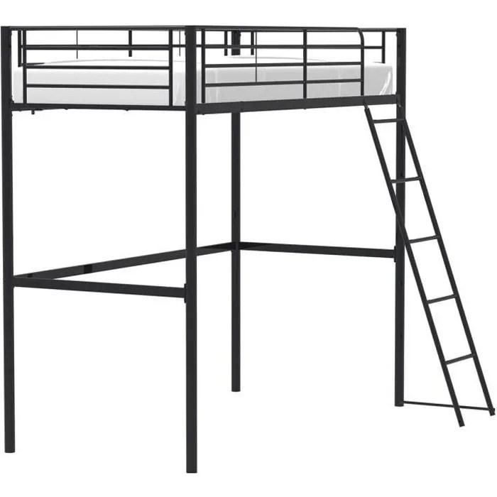 lit mezzanine 90 x 190 cm en metal noir sommier inclus eliot