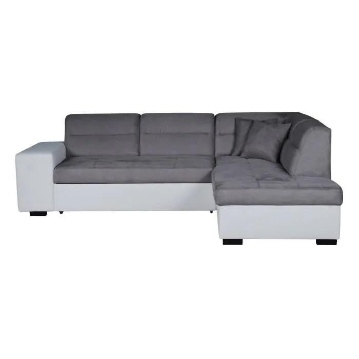 almeria canape d angle droit convertible 4 places tissu gris et simili blanc contemporain l 264 x p 197 cm