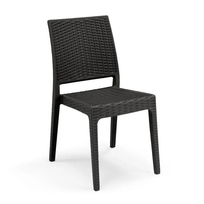 lot de 4 chaises de jardin clio imitation resine
