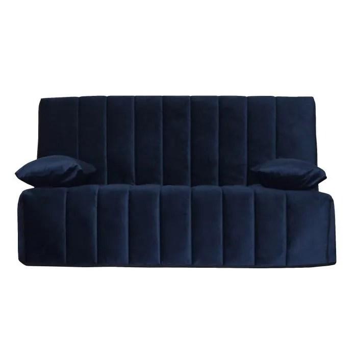 Ops 100 Francais Ronda Banquette Clic Clac Velours Bleu Couchage Quotidien L190 X P95 X H98 Cm Achat Vente Clic Clac Cdiscount