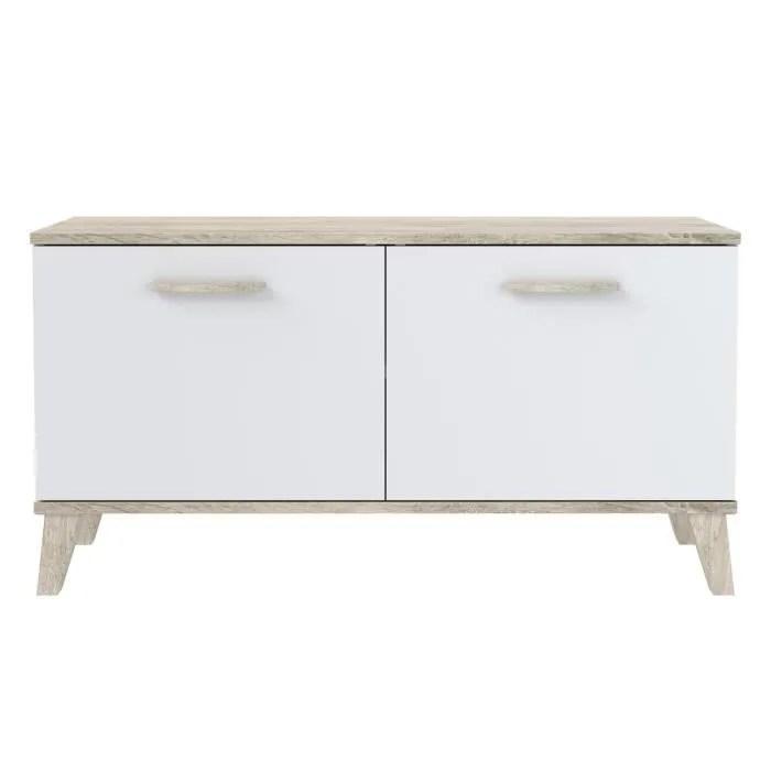meuble a chaussures blanc mat 2 portes style contemporain l 100 cm