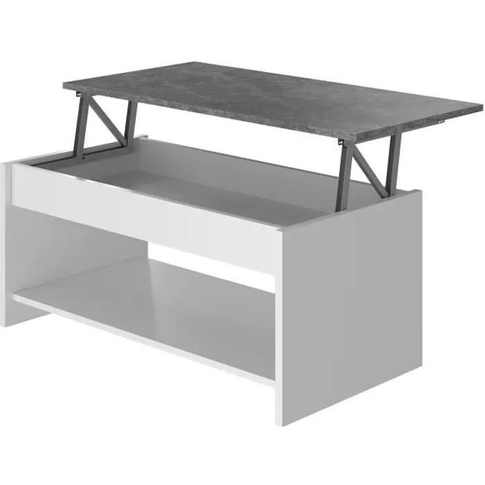 happy table basse relevable blanc et gris l 100 cm