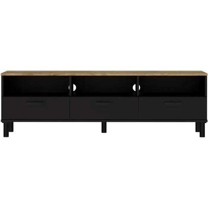oxford meuble tv decor noir et chene style industriel l 158 x p 40 x h 47 cm