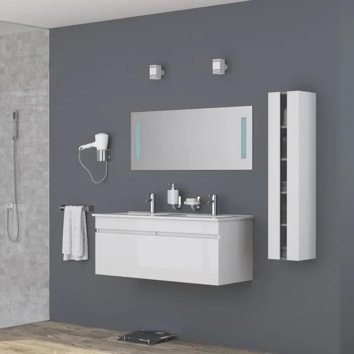 alban ensemble salle de bain double vasque avec miroir l 120 cm blanc laque brillant