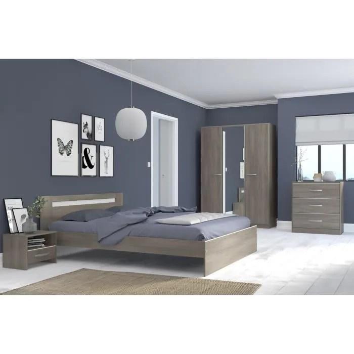 ysa chambre complete adulte contemporain decor noyer silver l 160 x l 200 cm