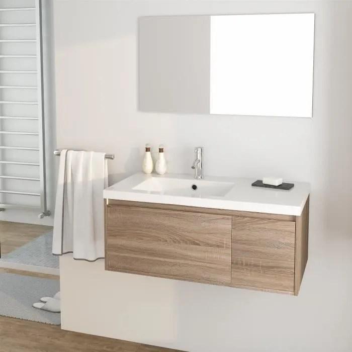 Meuble Salle De Bain Avec Vasque Et Miroir 90 Cm Achat Vente Pas Cher