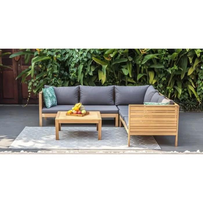 salon de jardin 5 places en bois d