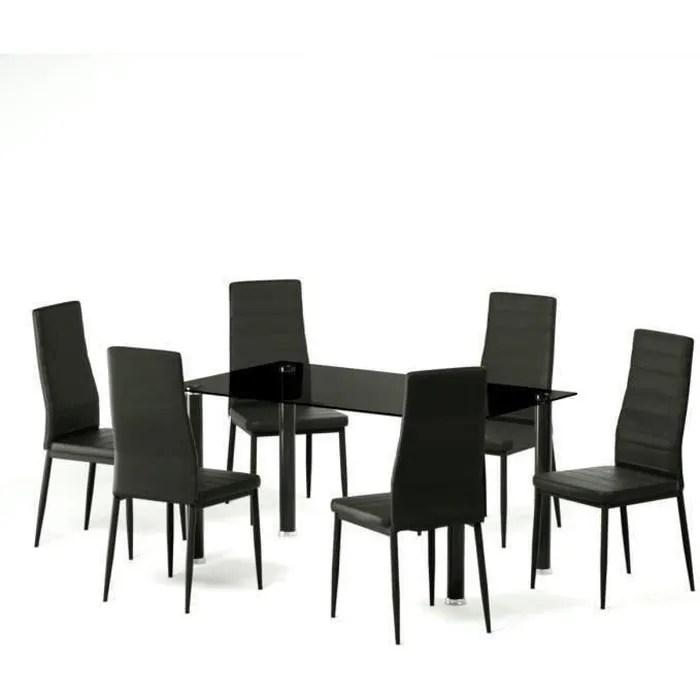 belair table a manger de 4 a 6 personnes style contemporain 6 chaises en simili noir mat l 140 x l 80 cm
