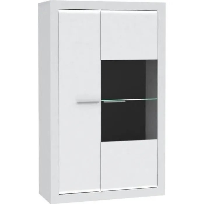 meuble vitrine blanc laque
