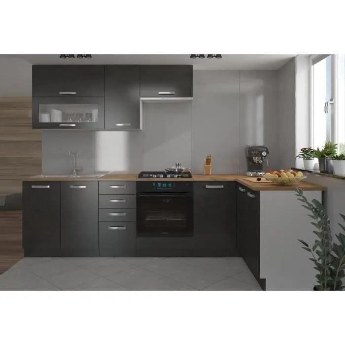 lassen cuisine complete d angle 240x165 cm avec plan de travail gris matera