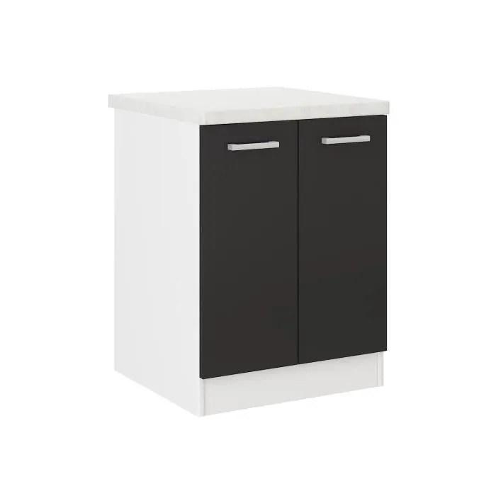 ultra meuble bas de cuisine l 60 cm noir mat