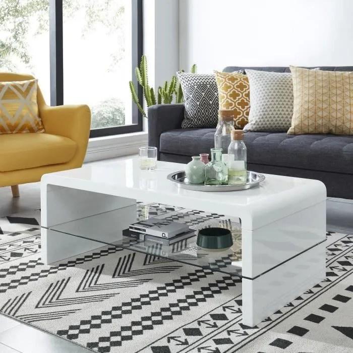 primis table basse contemporain laque blanc 105x55