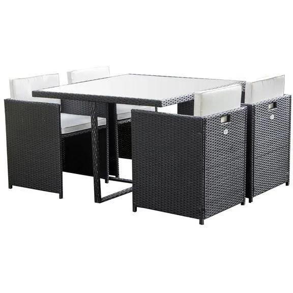 ensemble repas de jardin encastrable 4 personnes table 110x110 plateau en verre 4 fauteuils noir deltaset