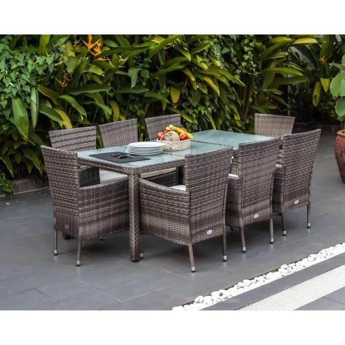 ensemble repas de jardin 8 personnes table 190x90cm 8 fauteuils plateau verre trempe et structure resine tressee gris feroe
