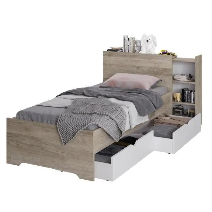 lit enfant 90x200 avec 2 tiroirs decor chene et blanc l 99 2 x p 223 7 x h 90 cm austin