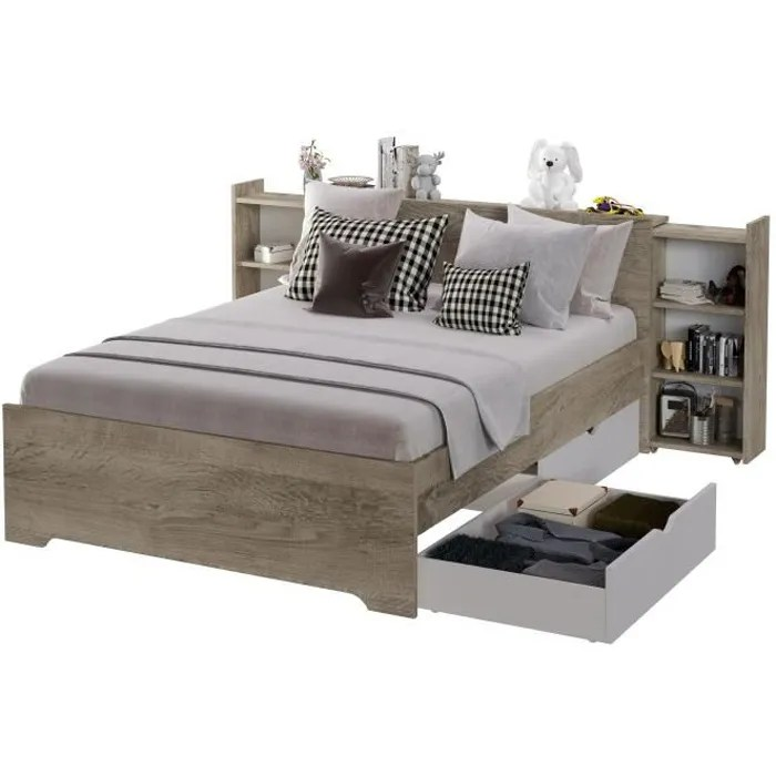 lit adulte 140x190 avec 2 tiroirs decor chene et blanc l 149 2 x p 213 7 x h 90 cm austin