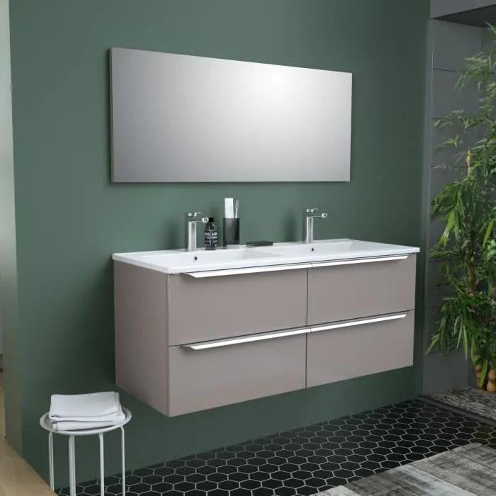 zoom meuble de salle de bain double vasque avec miroir l 120cm 4 tiroirs a fermeture ralenties taupe laque brillant