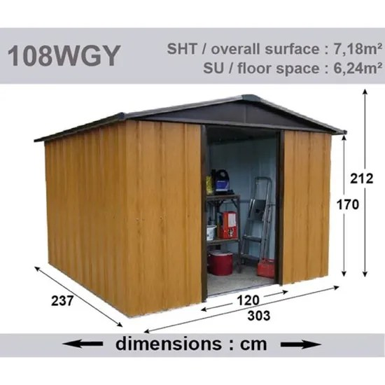 yardmaster abri de jardin metal 7 18 m marron aspect bois