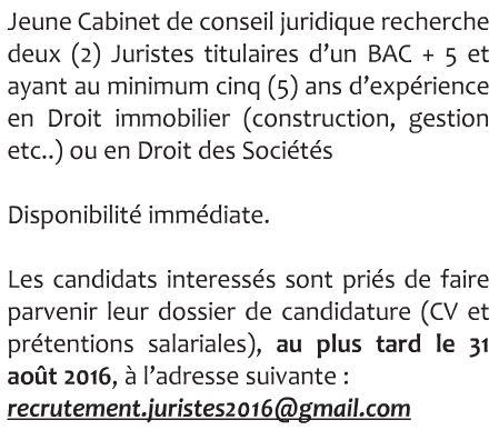 Un Jeune Cabinet De Conseil Juridique Recrute 02 Juristes