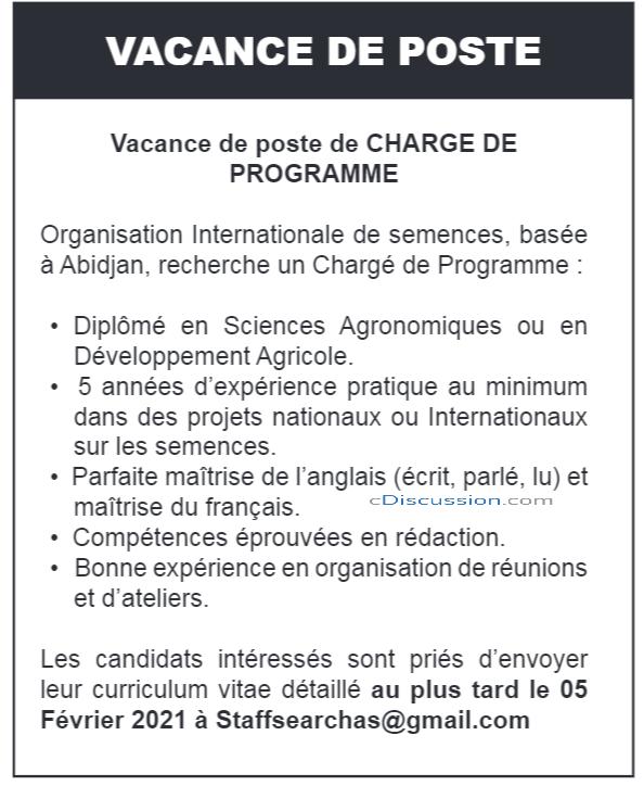 Organisation Internationale De Semences Recrute 01 Chargé De Programme, Abidjan, Côte D'ivoire
