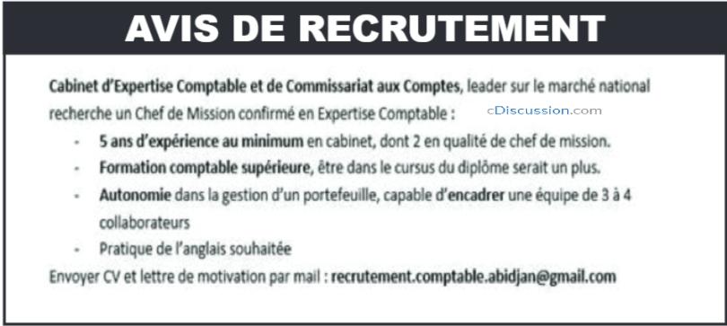 Cabinet D'expertise Comptable Recrute 01 Chef De Mission Confirmé En Expertise Comptable
