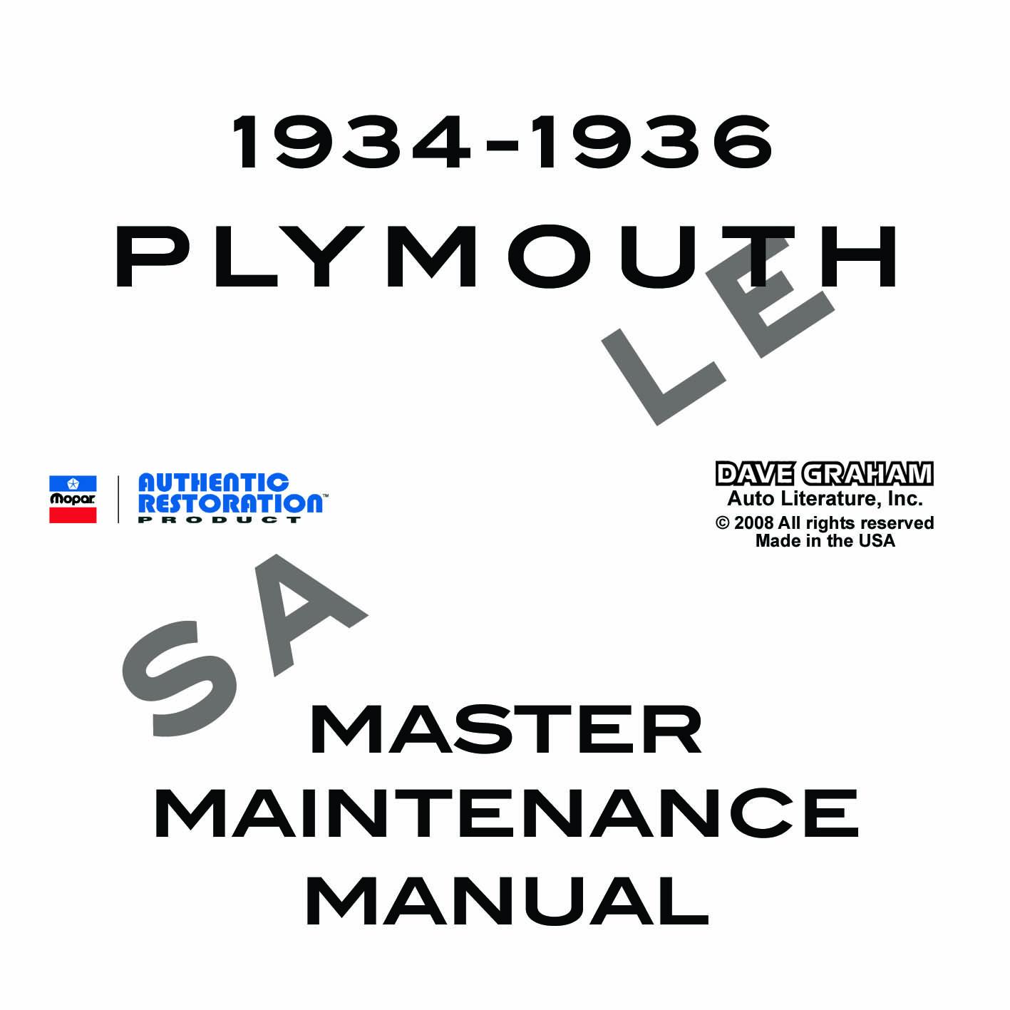 Plymouth Repair Manual