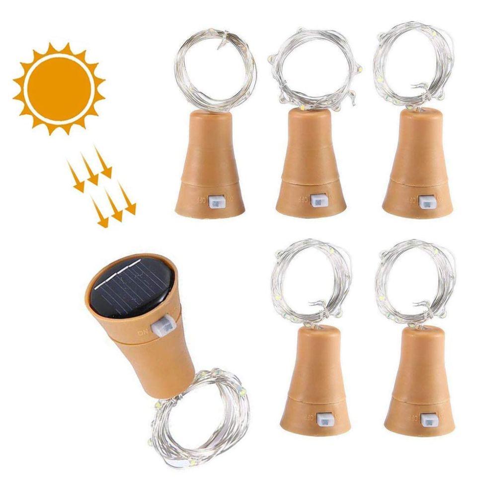 3/6 Solar Wine Bottle Lights 10 LED Cork Shaped Fairy String Light Garden Decor