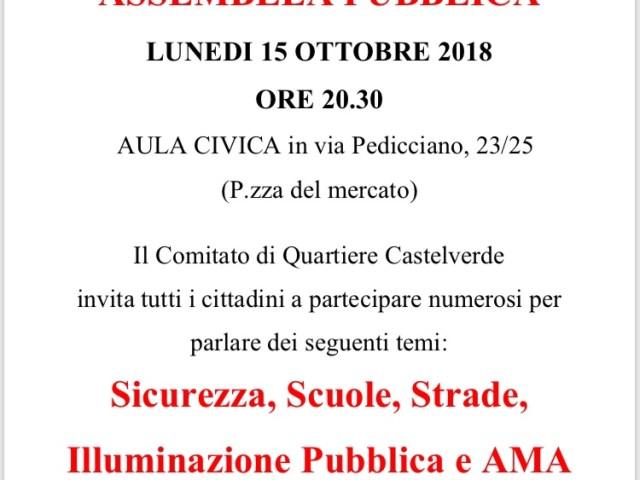 Assemblea Pubblica lunedì 15 ottobre ore 20.30 aula civica Via Pedicciano 23