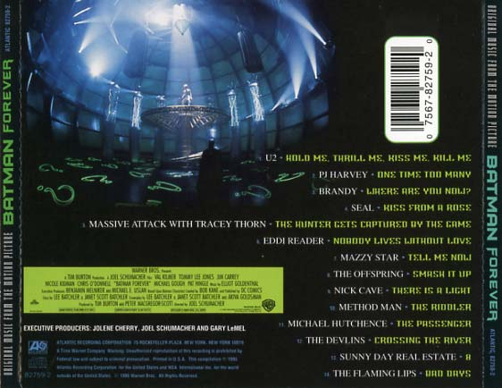 Batman Forever Soundtrack 1995 CD Sniper Reference Collection Of Rare Movie Soundtracks