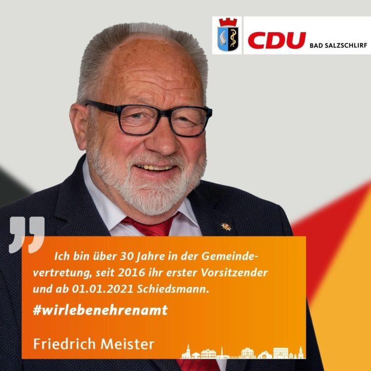 Friedrich Meister, Listenplatz 1