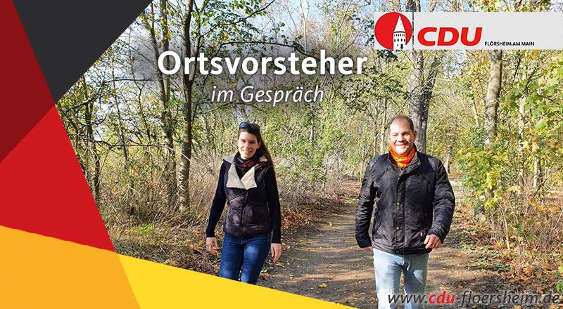 Austausch der Ortsvorsteher Weilbach und Wicker beim gemeinsamen Spaziergang