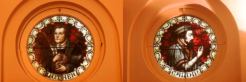 Calvino y Lutero, vitrales.