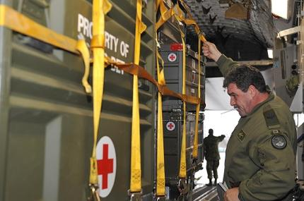 Medical supplies for Haiti being loaded at CFB Trenton