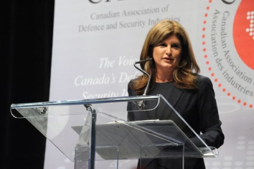 Public Works Minister Rona Ambrose speaks at the recent CANSEC military trade show in Ottawa.