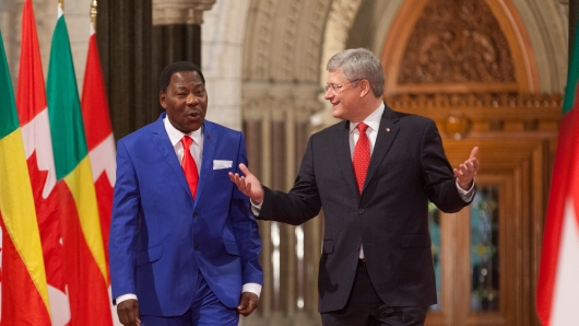 """No """"direct military mission""""? Following a meeting with Benin president and African Union chairperson Boni Yayi, Prime Minister Harper declared that Canada is not considering direct intervention in Mali."""