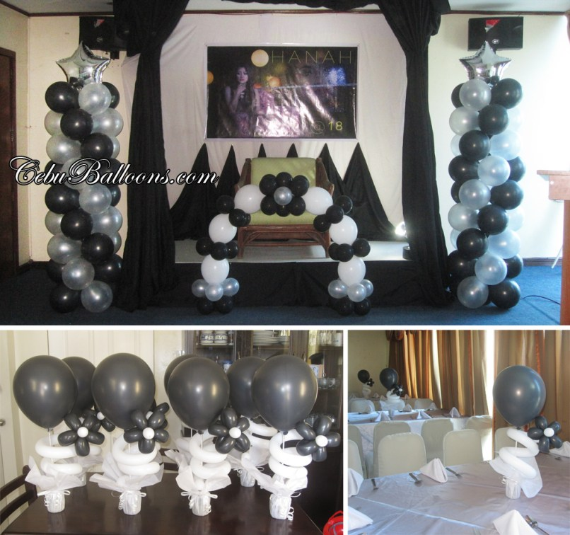 18th Birthday Black White Balloon Decoration At Golden Peak