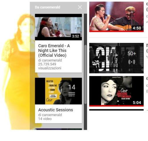 screenshot di alcuni album della cantante Caro Emerald (tratto da youtube)