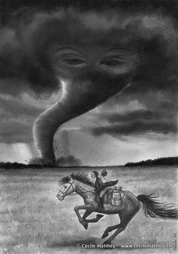 """Illustration pour  """"Three and the tornado"""" de Sadie Bruce (Steampunk Magazine, à paraître)"""
