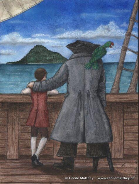 Jim, Long John Silver et le Capitaine Flint arrivent en vue de l'île au trésor... Suspense.