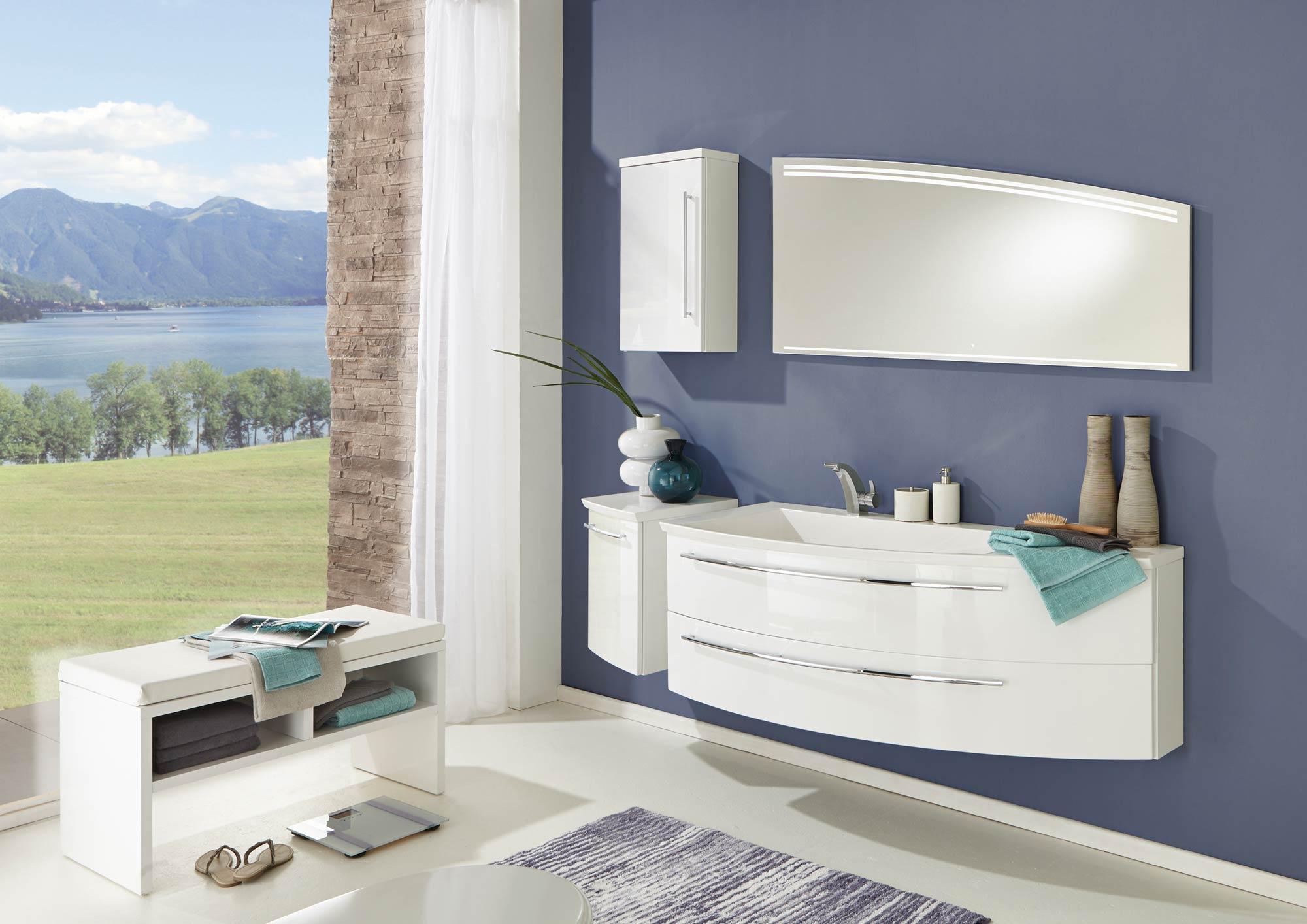 collection crescendo largeur 140 cm blanc brillant plan en marbre reconstitue brillant