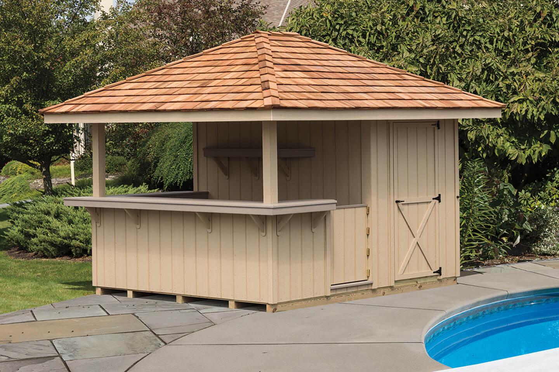 Cabanas & Outdoor Bars | Cedar Craft Storage Solutions on Backyard Bar With Roof id=64794