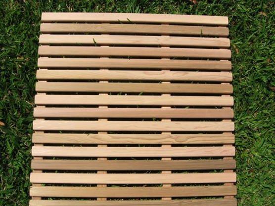 custom made wooden cedar bath mat