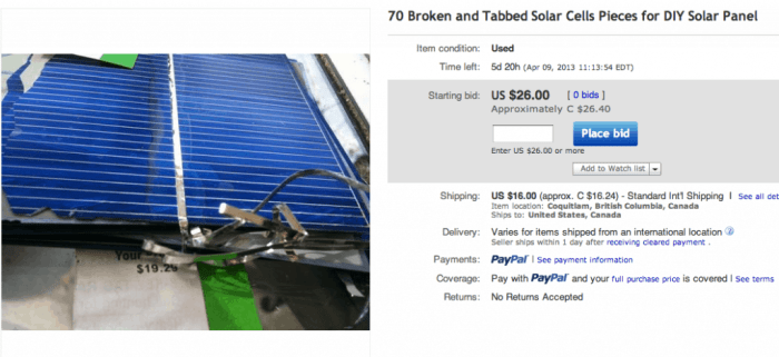 70 Broken and Tabbed Solar Cells
