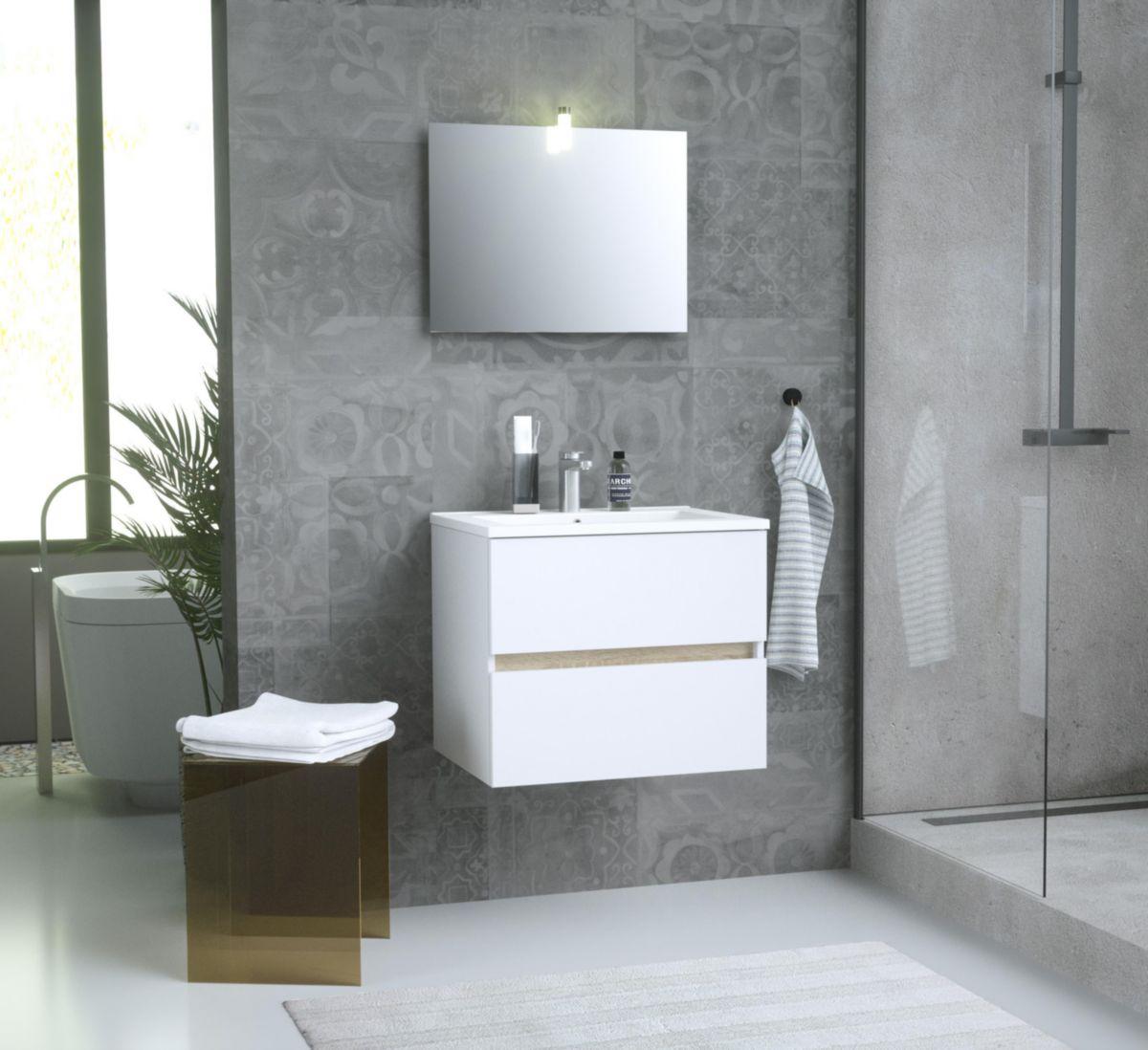 Alterna Meuble De Salle De Bain Sous Vasque Primeo Kit 60 Cm Blanc Bois A Monter Avec Miroir Et Spot Cedeo