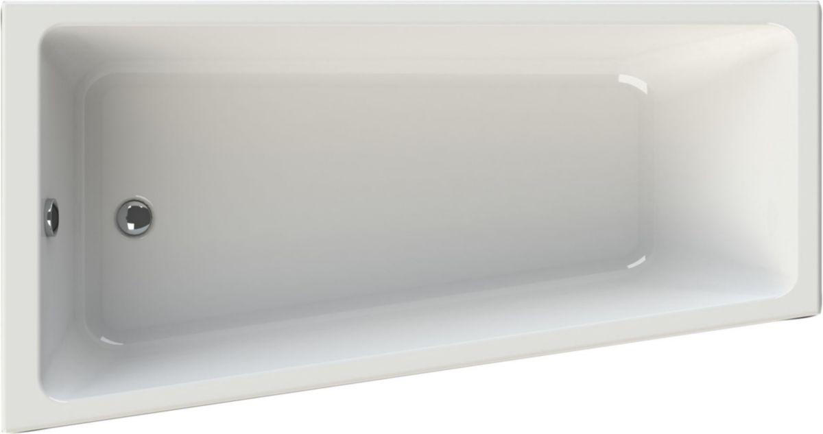 baignoire asymetrique concerto 3 170 x 90 65 cm gauche acrylique blanc