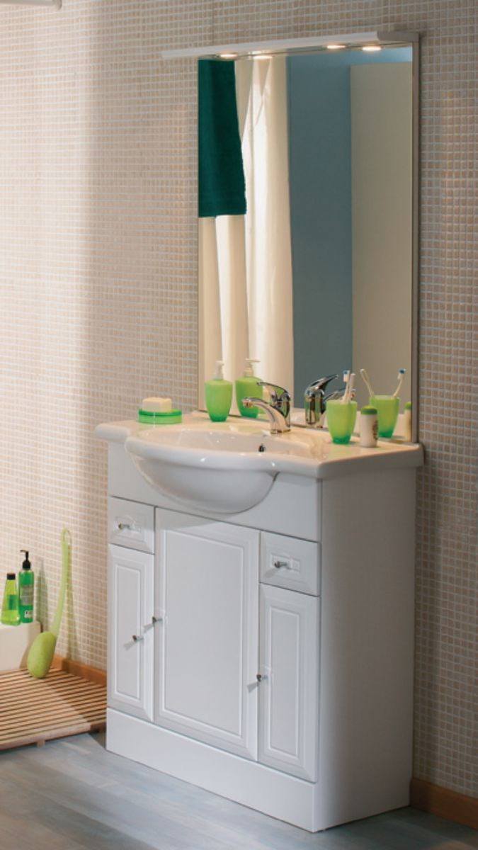Alterna Meuble Sous Vasque Tolede 2 Blanc 80 Cm 3 Portes 2 Tiroirs Pour Plan Ceramique Cedeo